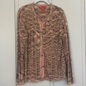 Gorgeous Shimmery Gold Missoni Cardigan Sweater XL